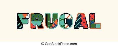 frugal, concepto, arte, ilustración, palabra