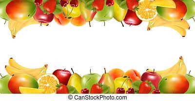 fruit., delicioso, fronteras, maduro, dos, vector., hecho