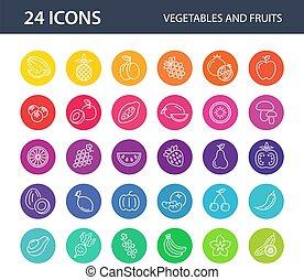 fruits, blanco, conjunto, icono, fondo., vegetales, vector, colorido