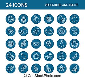 fruits, blanco, conjunto, icono, fondo., vegetales, vector