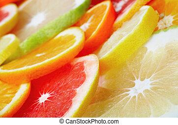 fruits, fruta cítrica, plano de fondo