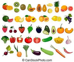 fruits, vegetales, blanco, vector, conjunto, fondo., aislado