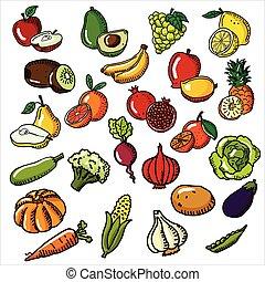 fruits, vegetales, vector, conjunto, ilustración