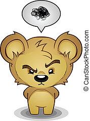 frustrado, carácter, caricatura, oso