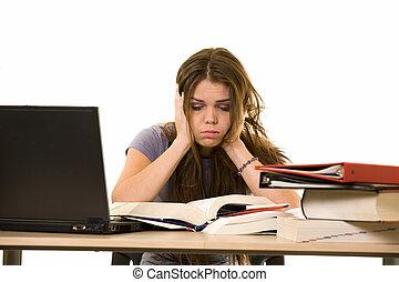 frustrado, estudiante universitario