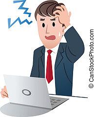frustrado, hombre de negocios