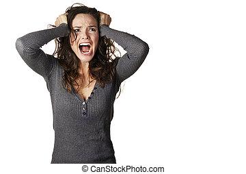 frustrado, mujer enojada, estridente