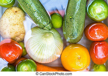 fruta, agua jabonosa, disinfection., vegetales, lavado, coronavirus