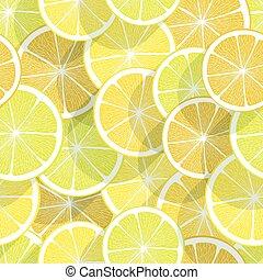fruta cítrica, fondo., limón, seamless