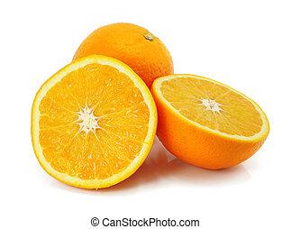 fruta cítrica, naranja, blanco, fruta, aislado