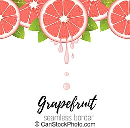 fruta cítrica, vector, realista, jugo fresco, aislado, toronja, seamless, ilustración, gotas, rebanada, white., frontera