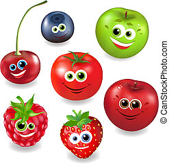 fruta, caricatura, colección, bayas