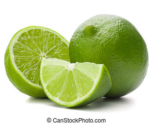 Fruta de lima citrus aislada en corte de fondo blanco