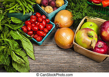 Fruta fresca del mercado y verduras