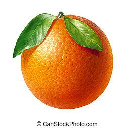 Fruta fresca naranja con dos hojas, de fondo blanco.