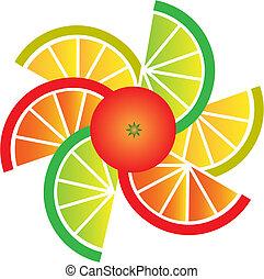 Fruta, limón, lima y rodajas naranjas