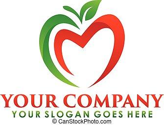 fruta, logotipo, manzana, símbolo., nutrición, naturaleza, icono