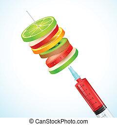 Fruta saludable en la jeringa