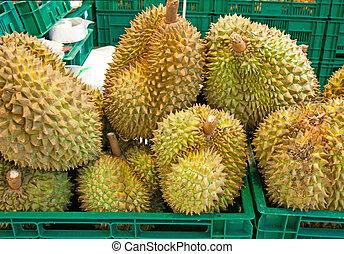 Fruta tropical de Durian en el mercado local