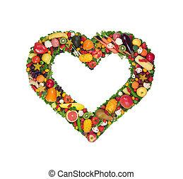 Fruta y corazón vegetal