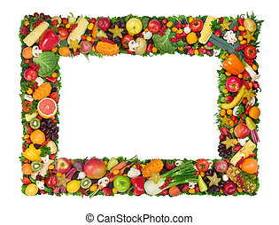 Fruta y marco vegetal