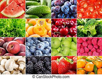 Frutas, bayas, hierbas y verduras