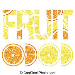 Frutas de cítricos, limones y naranjas