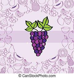 Frutas de uvas nutrición patrón de fondo dibujando color