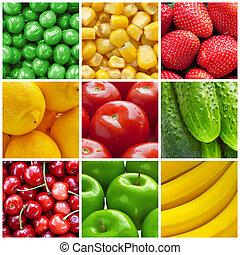 Frutas frescas y verduras collage