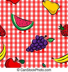 Frutos grungos sin mar sobre el patrón de cuadros rojos