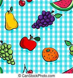 Frutos grungos sin mar sobre un patrón azul claro