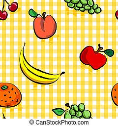 Frutos grungos sin semen sobre el patrón de a cuadros amarillos