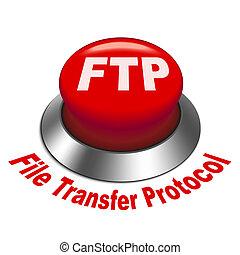 ftp, protocolo, ), transferencia, botón, ilustración, archivo, (, 3d