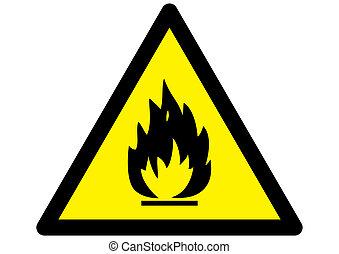 fuego, advertencia, muestra del peligro