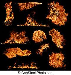 fuego, aislado, colección, alto, fondo negro, resolución