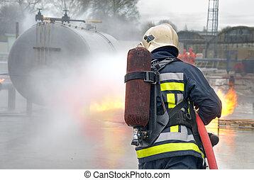 fuego, bombero, tanque, extinguir