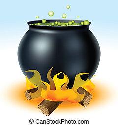 fuego, bruja, caldero