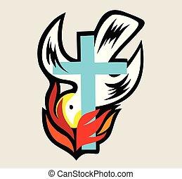 Fuego de espíritu santo con cruz