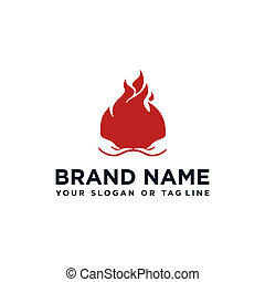 fuego, diseño, mano, logotipo, vector, creativo