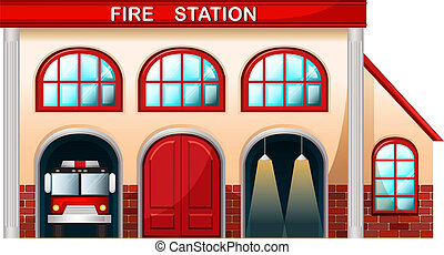 fuego, edificio, estación