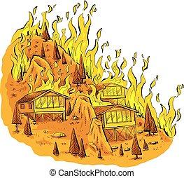 Fuego forestal Hilltop