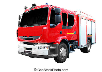 fuego, frente, camión, vista