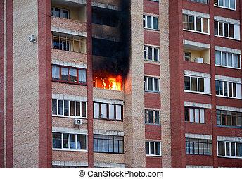 fuego, grande, tenement-house, uno, apartamentos