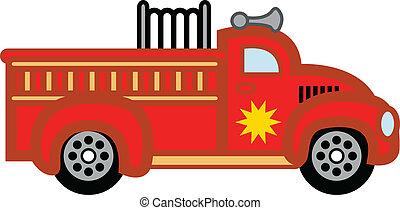 fuego, juguete, engine., firetruck, niño