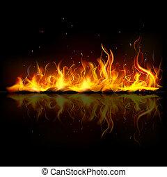 fuego, llama, abrasador