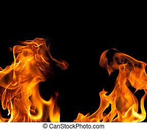 fuego, llama, frontera, plano de fondo
