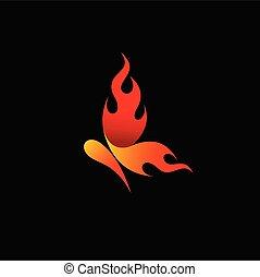 fuego, mariposa, diseño, logotipo, logotipo, vector
