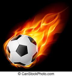fuego, pelota del fútbol