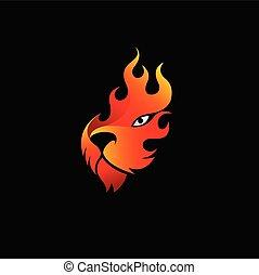 fuego, plano de fondo, llamas, diseño, negro, logotipo, tigre