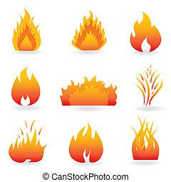 fuego, símbolos, llama
